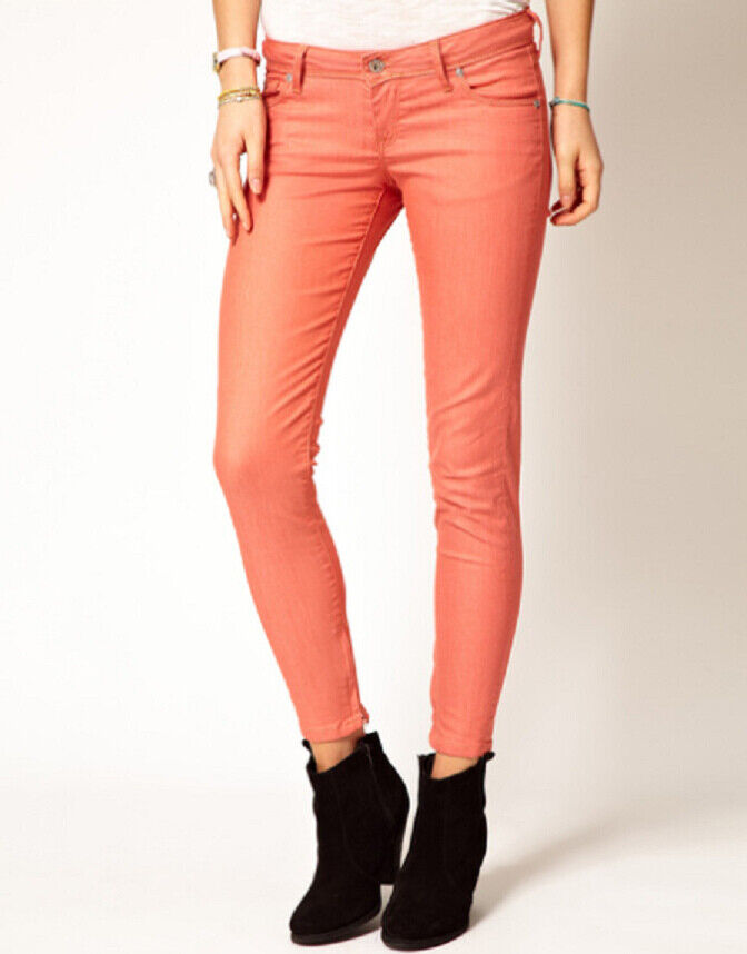 J BRAND Womens 811k120 Jeans Super Skinny Neon Coral Size 27