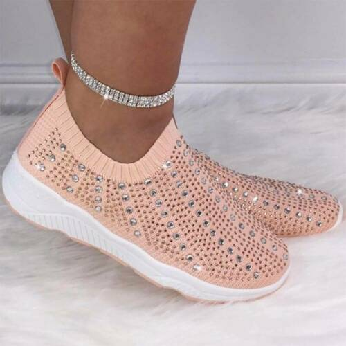 Ladies Diamante Studded Casual Sock Shoes Trainers Running Sneakers Comfy Shoes