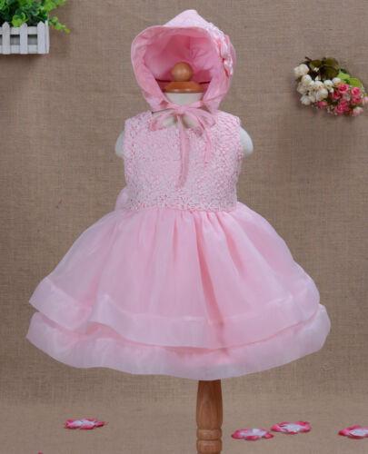 Baby Taufe Partykleid mit Haube in Rot Pink Elfenbein 0 3 6 12 18 24 Monate