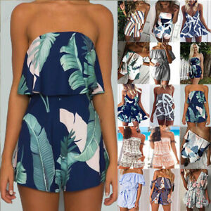 detailing the latest new arrivals Details about Womens Ladies Summer Boho Sleeveless Playsuits Floral Beach  Jumpsuits Size 6-18