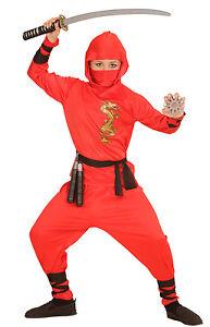 Rouge-Ninja-Combattant-Costume-pour-enfants-Garcons-Carnaval-Deguisement-K