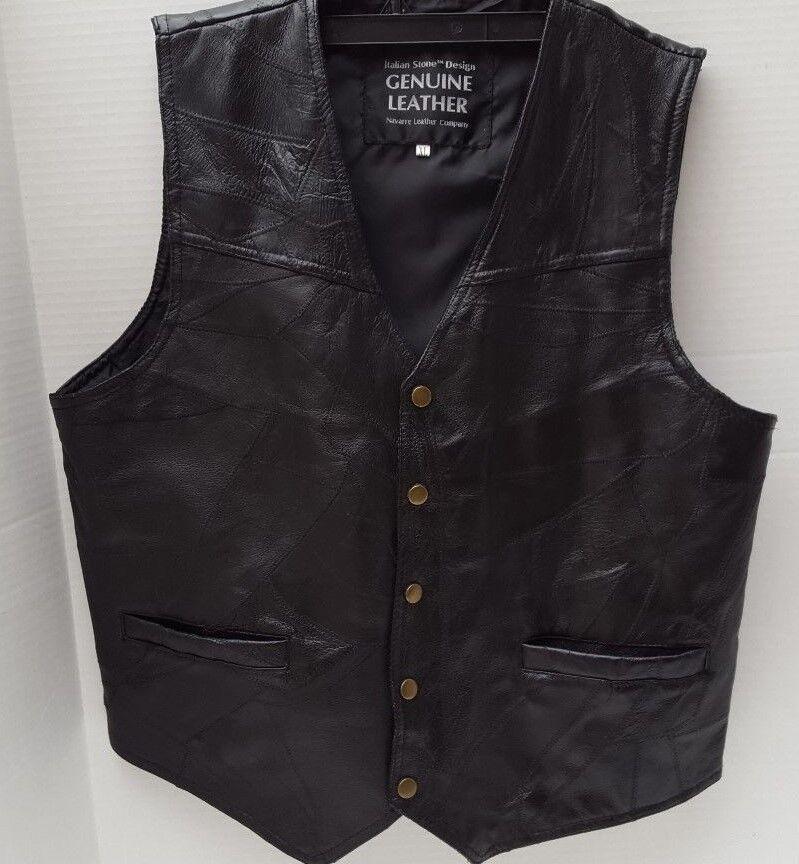 Mens Vest Genuine Leather Patch Italian Stone Design Navarre Co. Snap Buttons XL