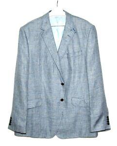 Mens-Marks-and-Spencer-Luxury-Linen-Blazer-Jacket-Blue-48L-48-Long-NEW