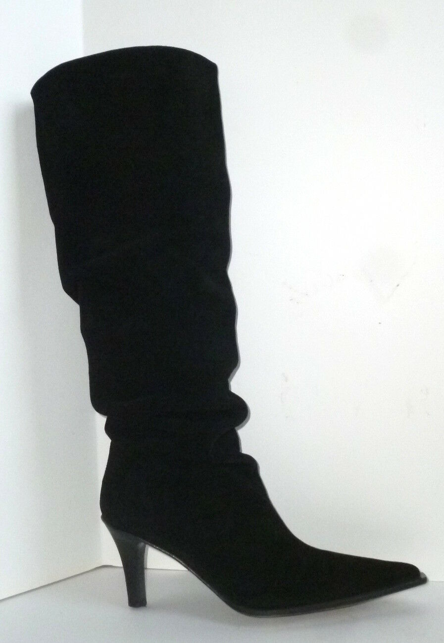 POLLINI ITALY Black Suede Leather Knee High SLOUCH BOOTS/HEELS-38.5