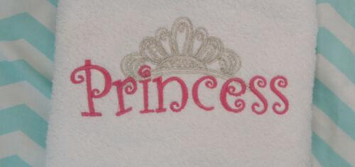 Personalized Embroidered Hot Pink Princess Silver Crown 3 piece White Towel Set
