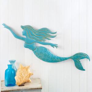 Details About Mermaid Metal Wall Art 24 Hanging 3d Sculpture In Outdoor Nautical Beach Decor