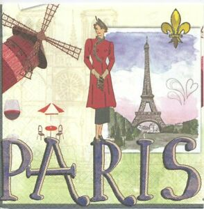 Lot de 2 Serviettes en papier Paris Decoupage Collage Decopatch