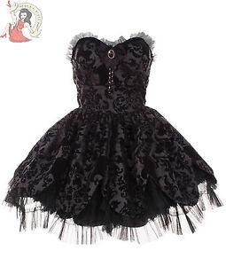 Hell-Bunny-Petale-velours-floque-mini-robe-gothique-crane-noir