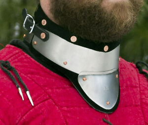 Stainless-Steel-amp-Leather-Gorget-delivers-GREAT-Protection-SCA-WMA-medieval-combat