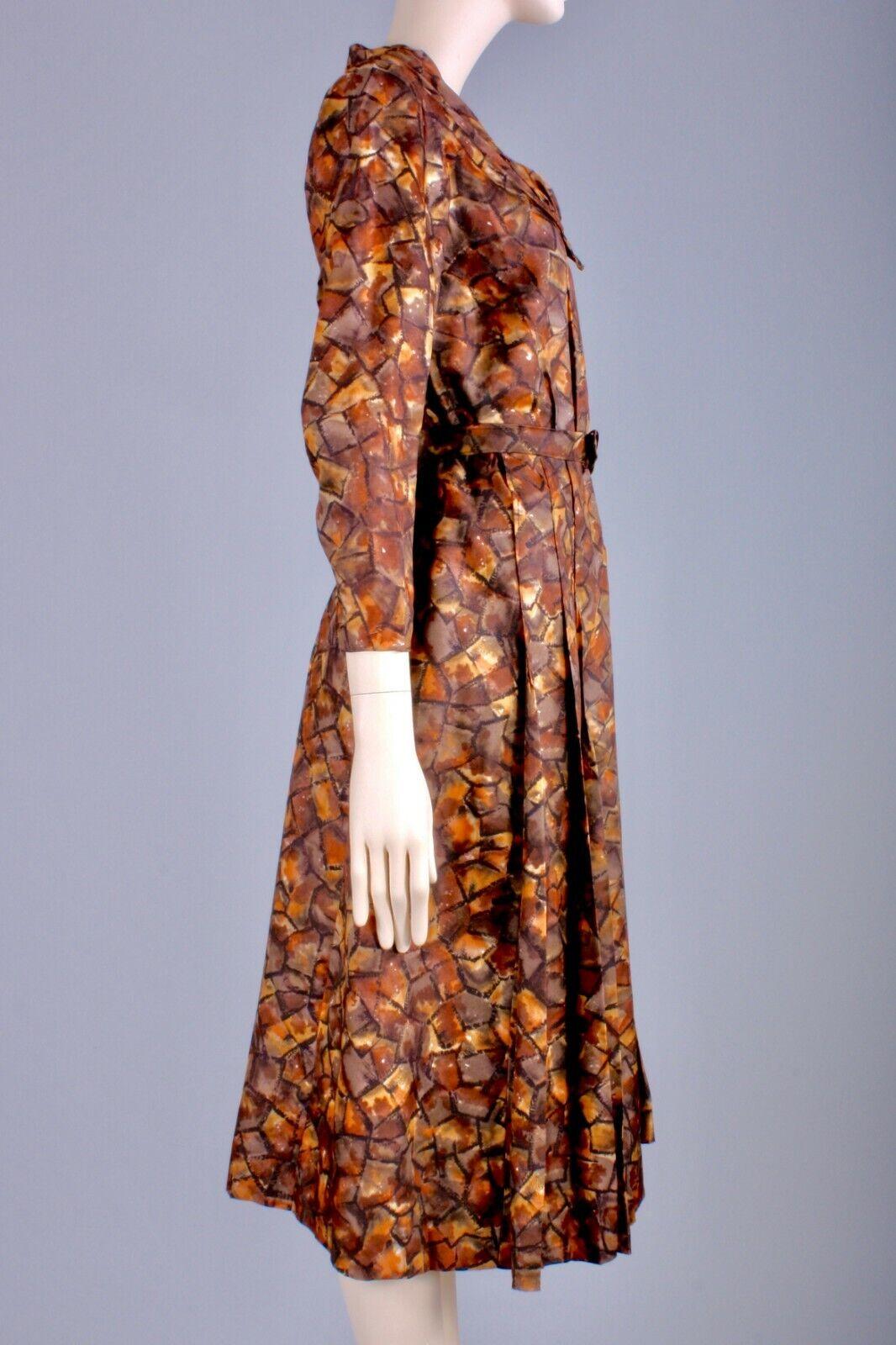 M/L Vintage 40s Copper Brown Satin Long Sleeve Te… - image 4
