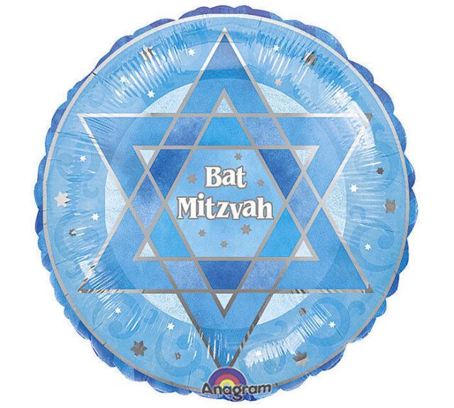 "Blue Bat Mitzvah 18"" Balloon foil mylar decorations party"