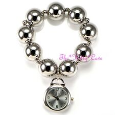 Designer Silver Rhodium Plt Big Chunky Ball Beads Boho Cuff Bracelet Charm Watch