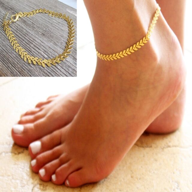 8e3a3769bf4 Girl Ankle Bracelet Women Accessories Foot Chain Arrow Anklet Gold Plated  for sale online