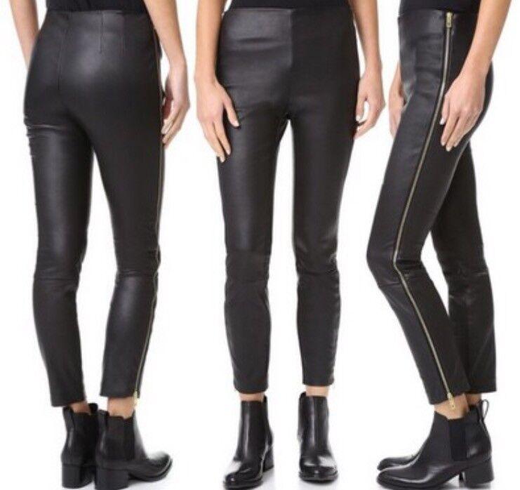 Nwt Rag & & & Knochen Chatel Leder Leggings Hose Schwarz Größe e32ce3