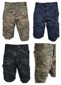 Men-s-New-FIRETRAP-Camo-Cargo-Combat-Shorts-Waist-Size-28-30-32-34-36-38-40-42