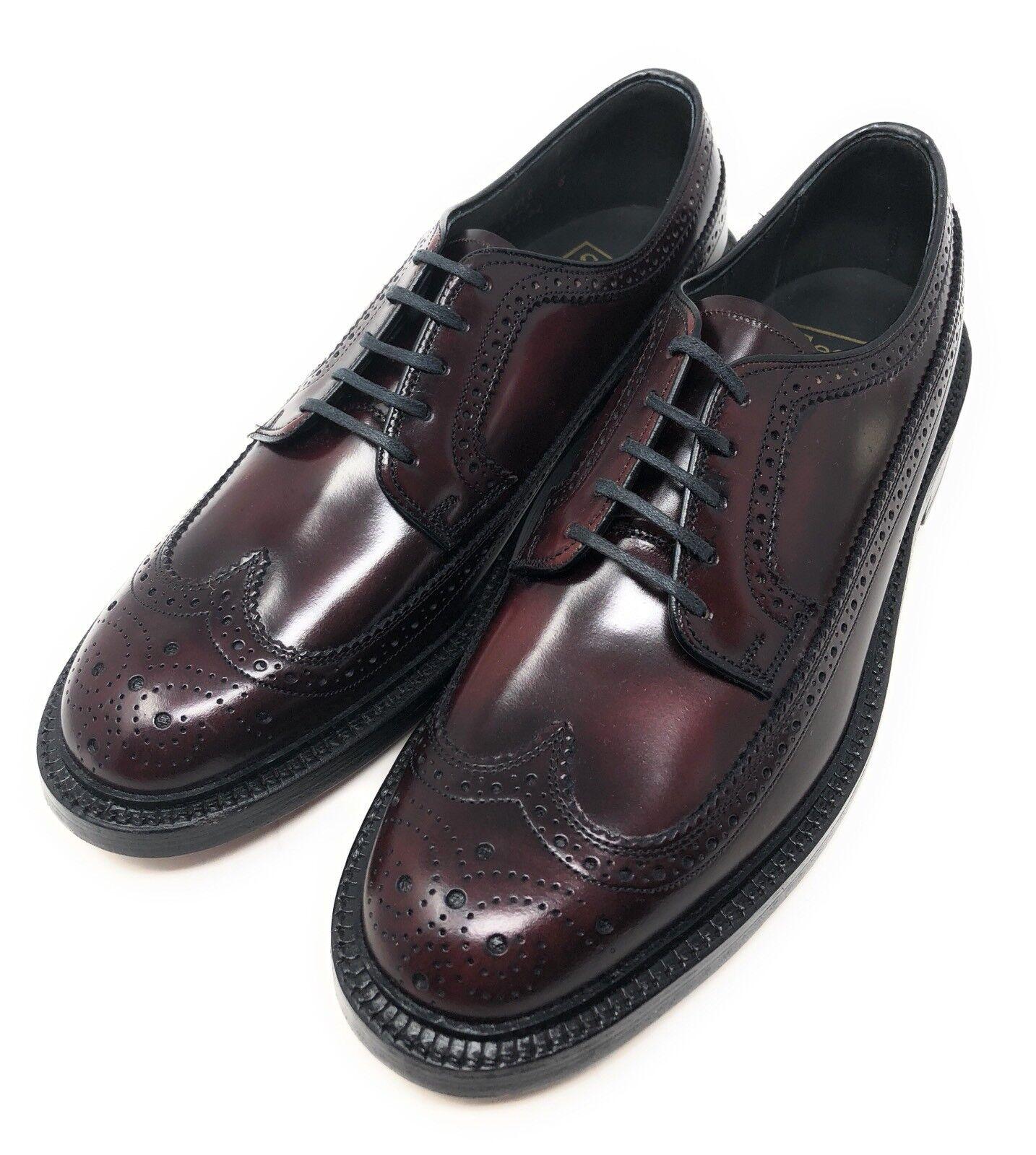 Vintage Zapatos V-Cala Sears Borgoña Cuero largo punta del ala para hombre 8.5 D Derbys