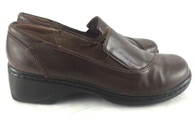 Clarks Loafers Clogs Brown Leather Stitched Slip On Womens 71322 Size 7 | eBay