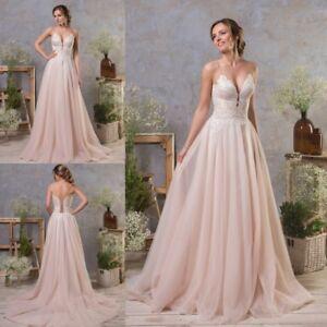 Blush Pink Wedding Dresses Spaghetti Straps V Neck Petite Plus Size ...