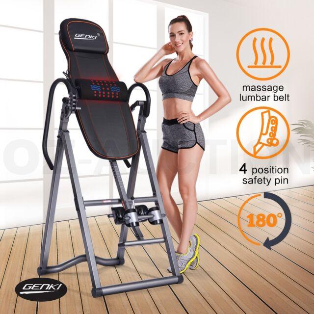 Genki Adjustable Inversion Table Gravity Foldable Back Inverter w/ Massage Belt