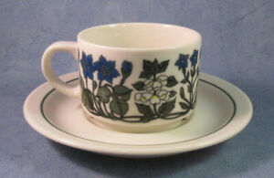 ARABIA-OF-FINLAND-Vintage-Flora-Coffee-Cup-amp-Saucer-Good-Condition