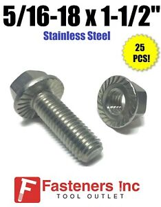 25 5//16-18 X 1-1//4 Hex Flange Bolts with Serrations 18-8 Stainless