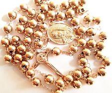 Rosario Vintage de La Virgen de Guadalupe de Oro rosa de 18k. religioso cadena