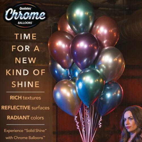 "25 Mirror Shine Qualatex Chrome 11/"" Latex Helium//Air Balloons Party Decorations"