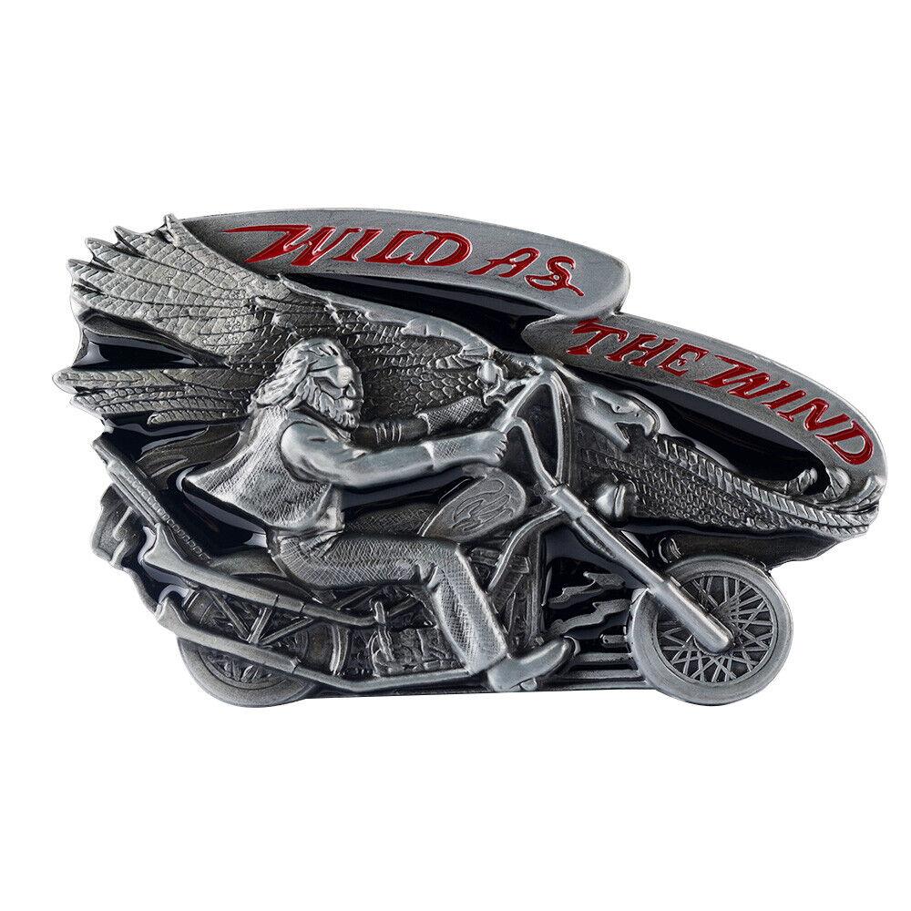 Motorcycle Wild as the Wind Alloy Metal Retro Women Mens Belt Buckle 38mm 40mm