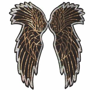 Sequin-Wings-Plain-XL-Sew-On-Embroidery-Applique-Patch-Sew-Iron-Badge