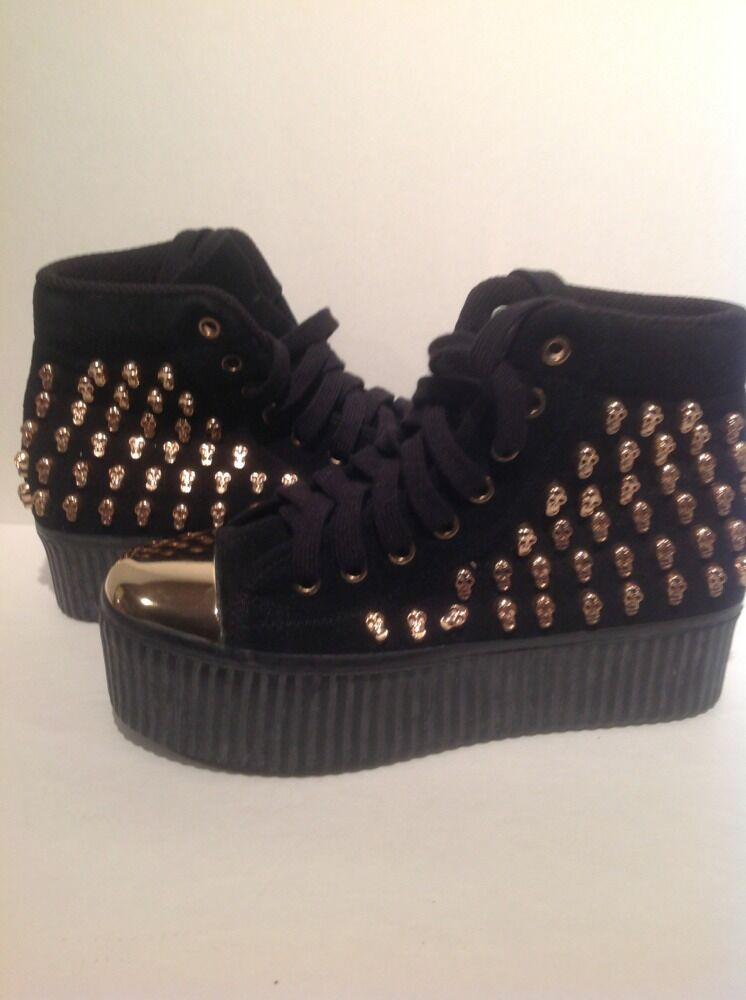Jeffrey Campbell Hiya Skull-Stud Flatform-Sneaker Black gold Size 6 Retails  250