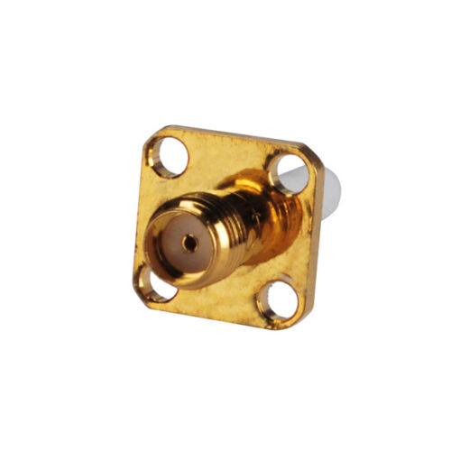 10x SMA female 4-hole panel mount with long extended dielectric solder connector