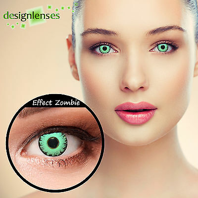 Designlenses© Colored zombie and demon contact lenses crazy red green blue white