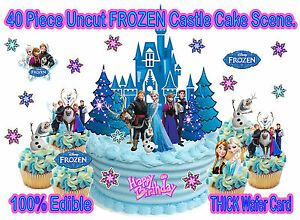EDIBLE Disney Princess FROZEN CASTLE WAFER Figures StandUp Birthday