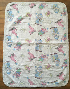 VINTAGE BABY Crib QUILT CIRCUS DESIGN Pink Seal Elephant Lion Clown Blanket