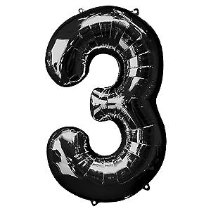"""Qualatex Super Forme 34/"""" Noir 3 feuille hélium Numéro Ballon Fête D/'Anniversaire BN"""