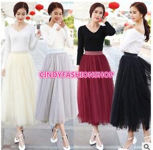 dde197b5b0 Women Elegant Pleated Maxi Tulle Skirt Big Swing Long High Waist ...