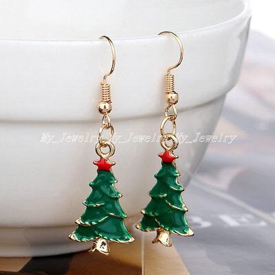 Gifts Gold Plated Crystal Enamal Christmas Earrings Women Drop Dangle Earrings