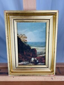 Vintage-1950s-Covered-Wagon-French-Coast-Landscape-Oleograph-Reproduction