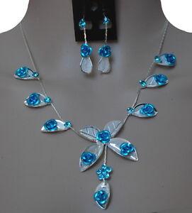 Luxus Set 2 Tg Kollier Ohrringe Halskette Strass Schmuckset Hochzeit Blumen