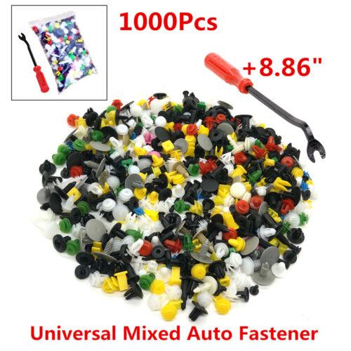 1000 Mixed Car Door Bumper Fender Fastener Retainer Rivet Push Pin Clip+Pry Tool