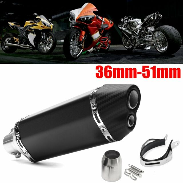 36-51mm Motorcycle Exhaust Stainless Steel Muffler Pipe Double Air Outlet ATV