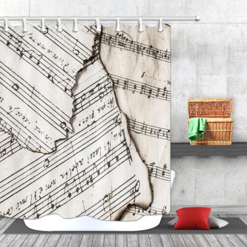Shabby Music Sheet Bathroom Waterproof Fabric Shower Curtains Assorted Sizes