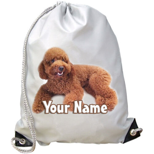 DANCE BAG BROWN POODLE DOG PERSONALISED GYM GREAT GIFT /& NAMED SWIMMING