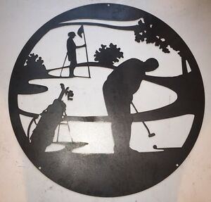Image is loading Golf-Scene-Steel-Wall-Art-24-034-Diameter-