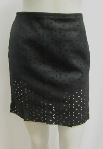 Chanel 36 4 Mini Skirt Black Wool Eyelet Cut Out 2