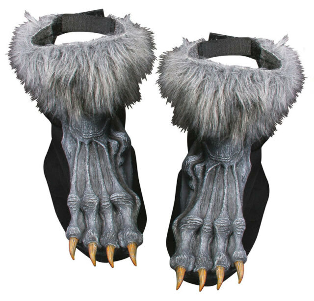 WEREWOLF WOLF FURRY FEET GREY SILVER FANCY DRESS COSTUME HALLOWEEN SHOE COVERS