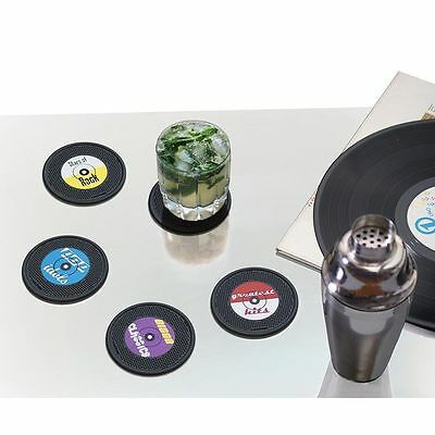 Long Drink Set of 4 Retro Vinyl Record Music Shaped Drink Coasters Mothers Day