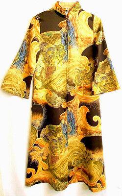 Davidbrown Vintage Lounge Long Dress Retro Chinese Asian Mandarin Collar USA  P
