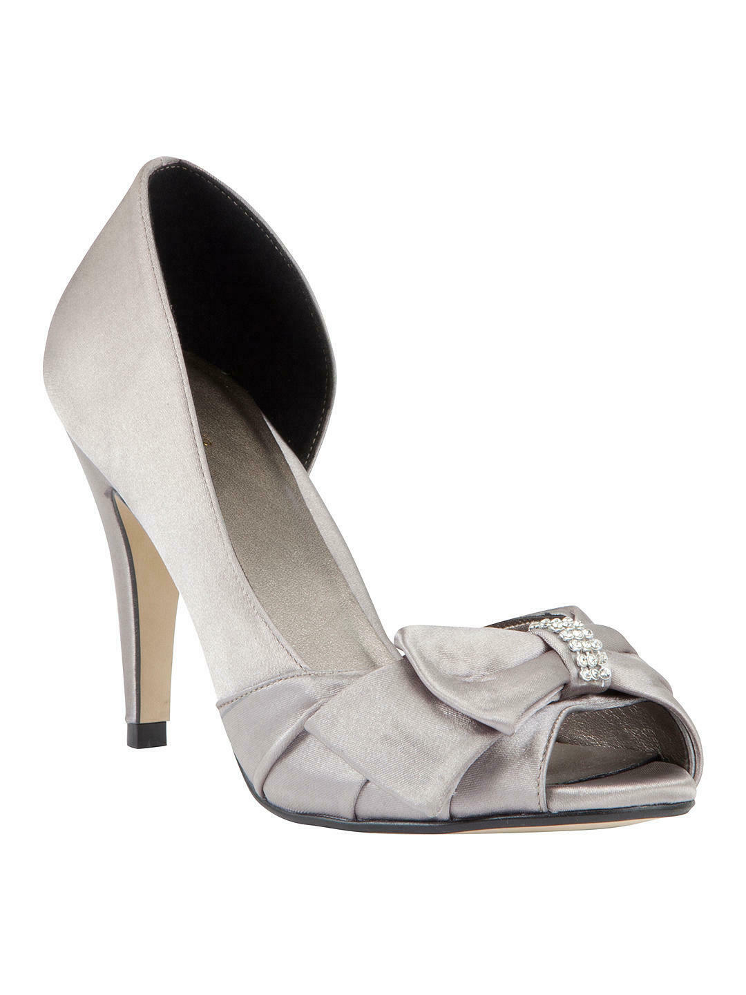 JOHN LEWIS - Satin Exposed Peep Toe Court shoes, Silver - UK Sizes 3 , 7 , or  8