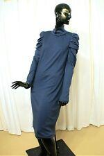 AKRIS  Cashmere & Silk Shift Dress Mediterranean Blue w Draped Sleeves NEW Sz 10